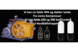 Luft opfyldning - 200bar (0,4-2 liter)..
