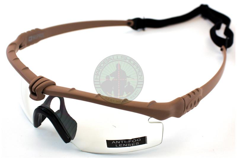 Battle Pro - Brille, Tan ramme med klart glas