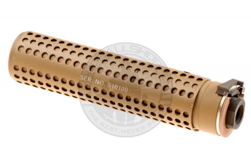 Pirate Arms - Lyddæmper, KAC QD, 168mm, CCW, Tan