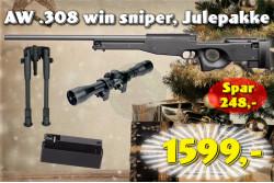 ASG AW .308 win sniper, sort JulePakke..