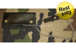 Læderpung med kæde, lille 16 x 9 cm..