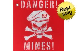 Skilt, Plastik, Danger Mines, Rød/Hvid..