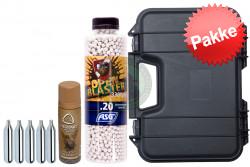 Skydepakke med kugler, Co2, silikone og kuffert..