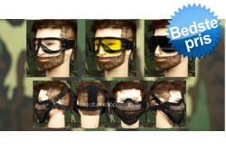Airsoft Goggle, 3 linser + Stålnetmaske, sort..