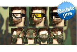 Airsoft Goggle, 3 linser + Stålnetmaske, Oliven..