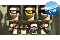 Airsoft Goggle, 3 linser + Stålnetmaske, Skelet..