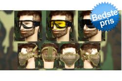Airsoft Goggle, 3 linser + Stålnetmaske, Tan..